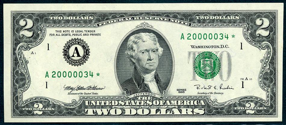 1995 $2 Federal Reserve Star Note BEP Millennium Boston