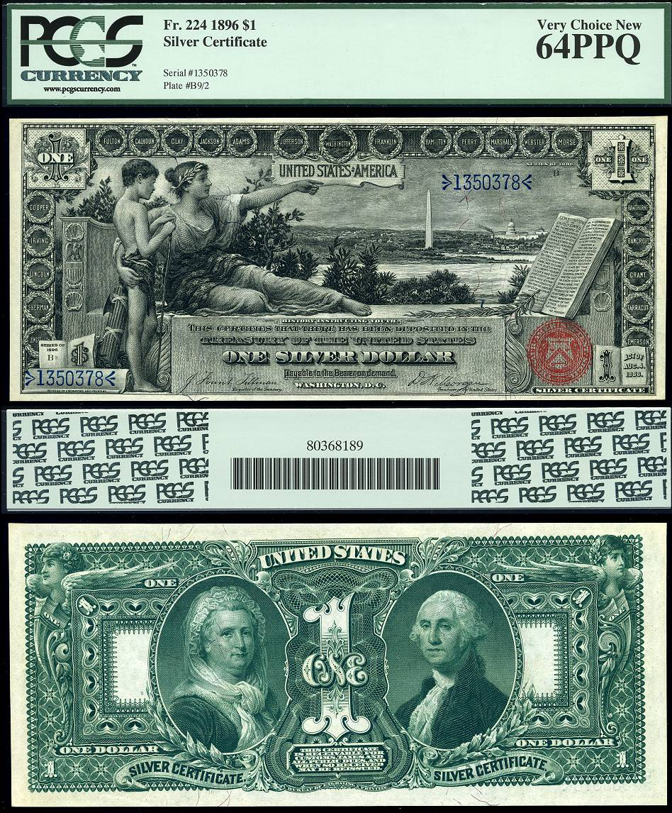 1896 1 Silver Certificate Educational Series Fr 224 Pcgs