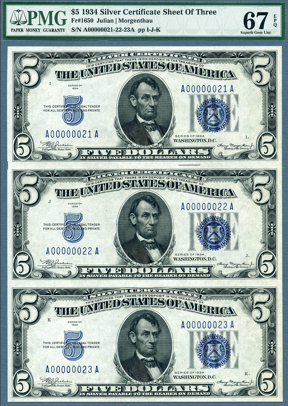 1934 5 Silver Certificates 3 Note Uncut Sheet Low Pmg Superb Gem