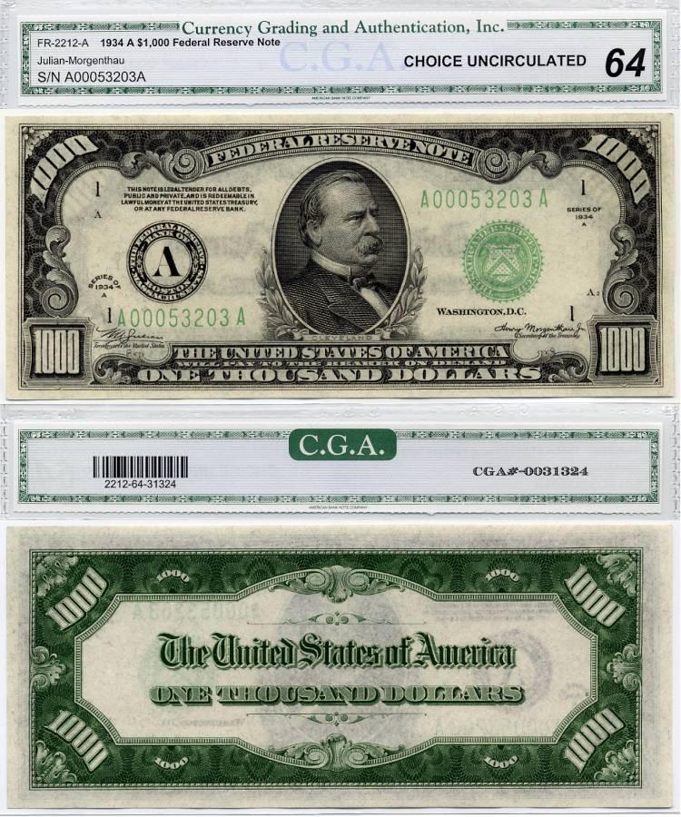 1000 dollar bill. 1934 A $1000 FR-2212-A Federal