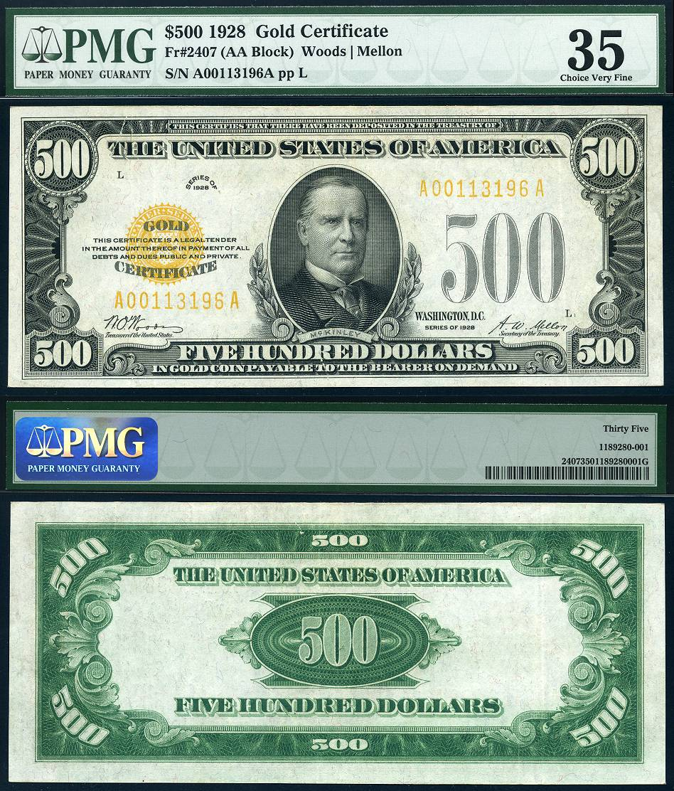 1928 $500 Gold Certificate FR-2407 CGA Graded Very Fine 35