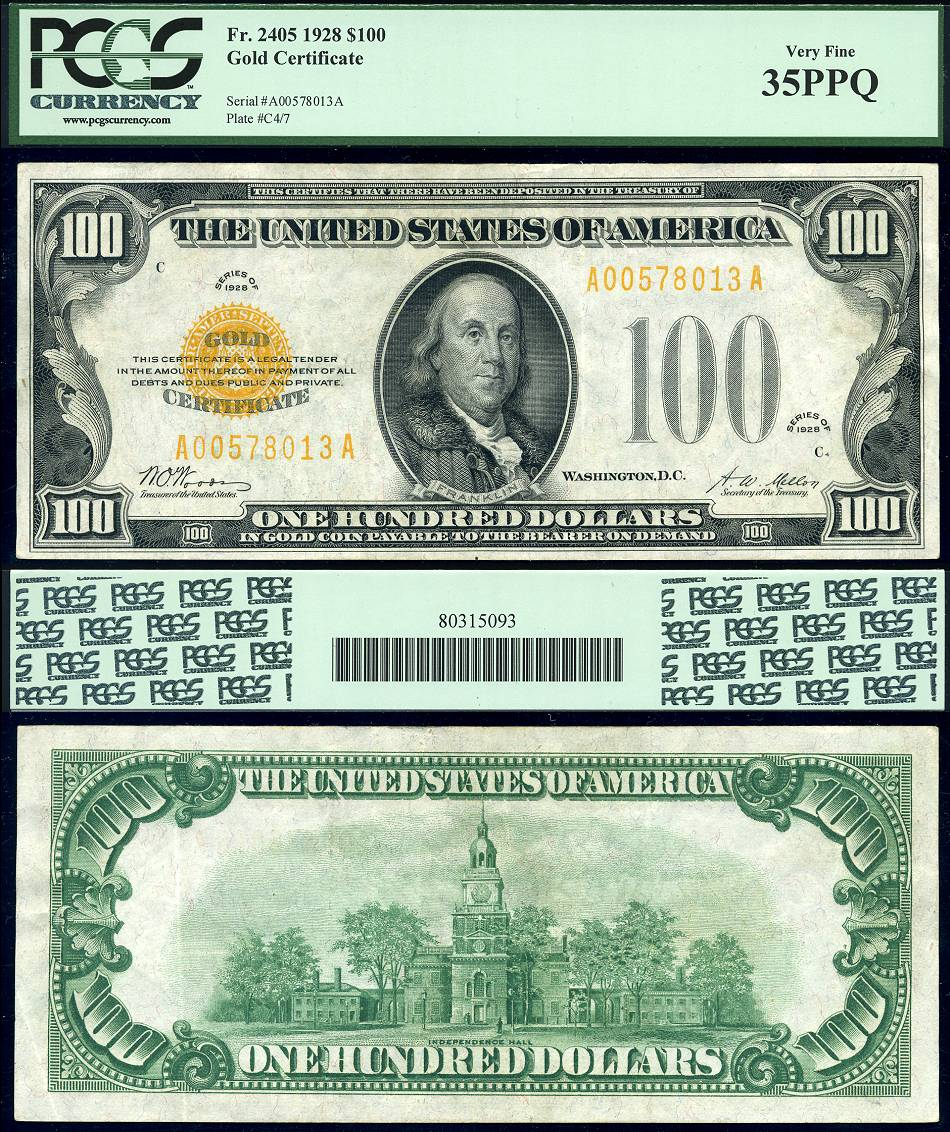 1928 100 Gold Certificate Fr 2405 Pcgs Graded Very Fine 35ppq Note