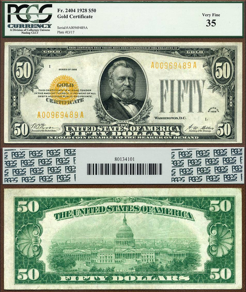 1928 50 gold certificate pcgs graded vf35 fr 2404 lyn knight 3 16 1928 50 gold certificate fr 2404 xflitez Choice Image