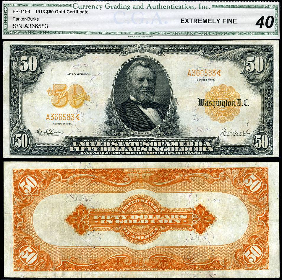 1913 50 Gold Certificate Fr 1198 Cga Graded Ef40 Large Size Note