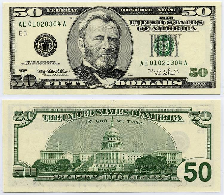 5 dollar bill coloring page - 1996 50 federal reserve ladder note