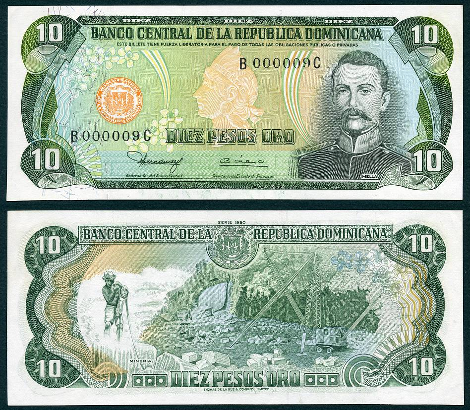 1980 10 Dominican Republic Pesos Low Serial Number S N B000009c Ebay 11 2017 13
