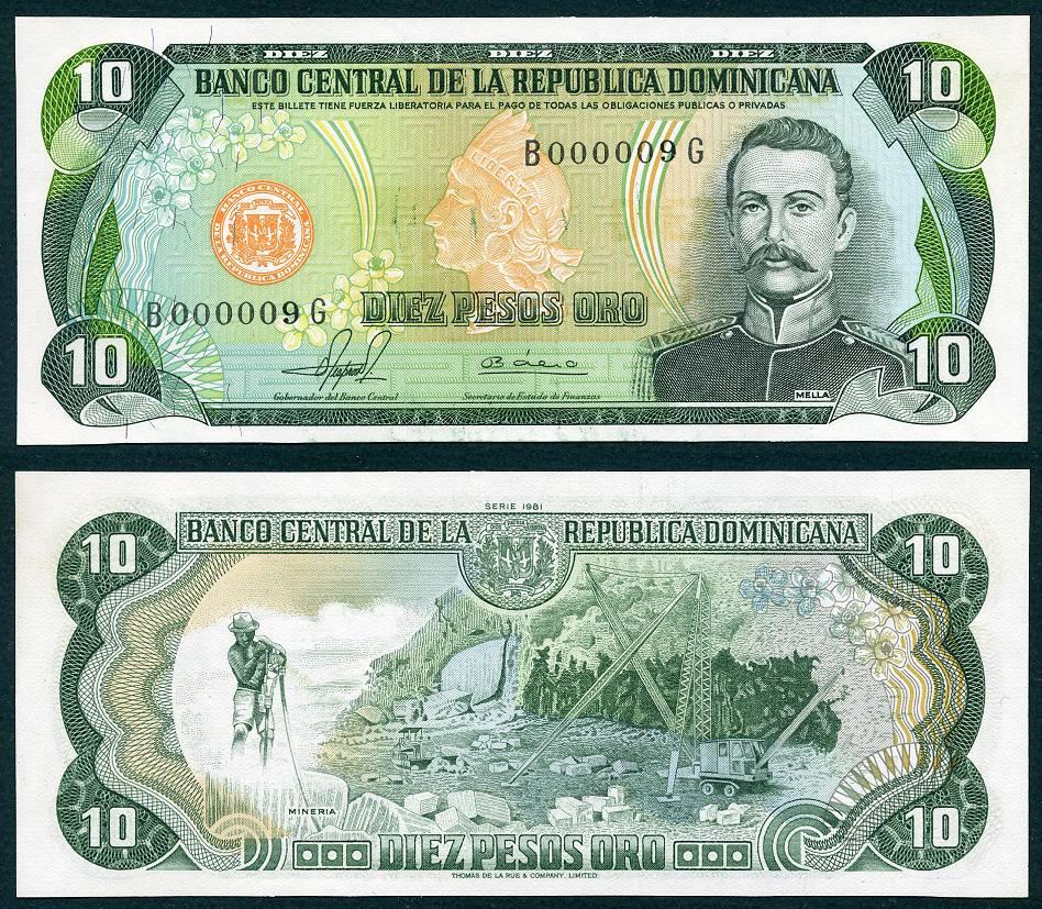 1981 10 Dominican Republic Pesos Low