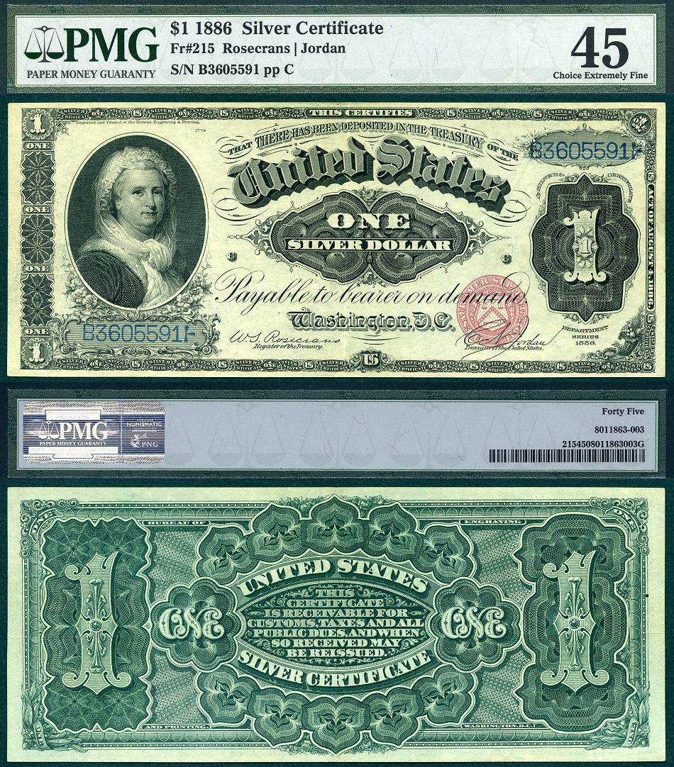 1886 silver certificate pmg fr graded extremely choice fine usrarecurrency note