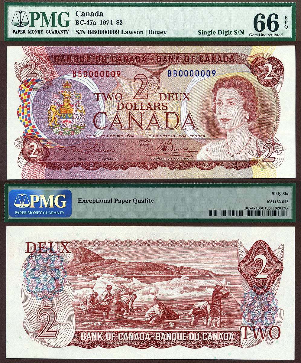 1974 $2 Bank Of Canada Note PMG Graded Gem 66EPQ S/N