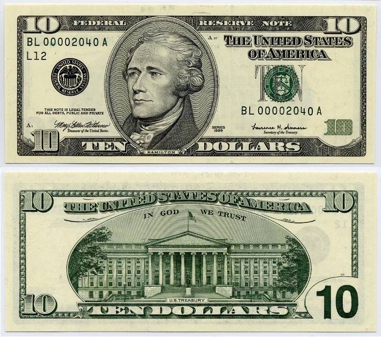 1999 $10 Federal Reserve Note Ten Dollar Bill