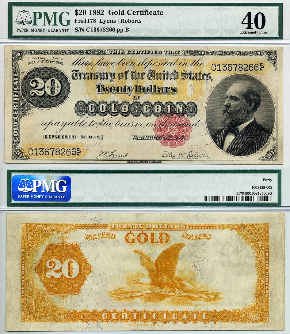 1882 20 gold certificate fr 1178 cga graded ef45 1betcityfo Gallery