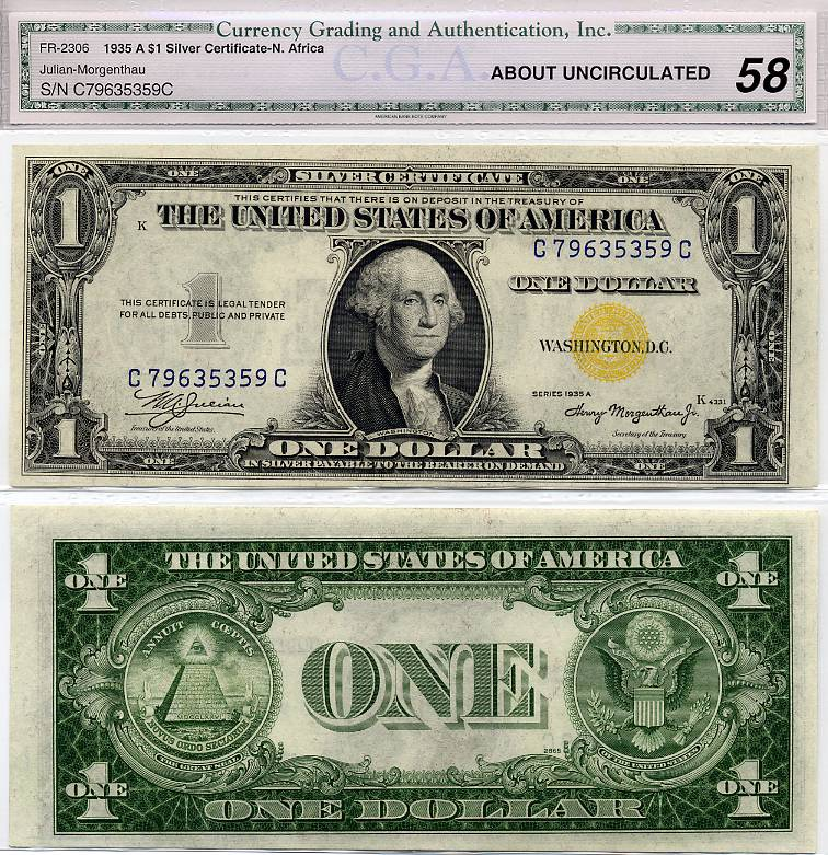 1935-A $1 Silver Certificate North Africa Issue FR-2306