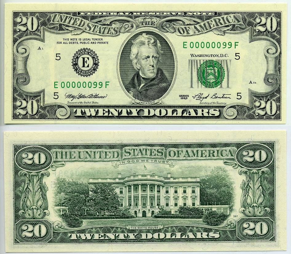 1993 $20 Federal Reserve Note S/N E 00000099 F Kalvin Jack