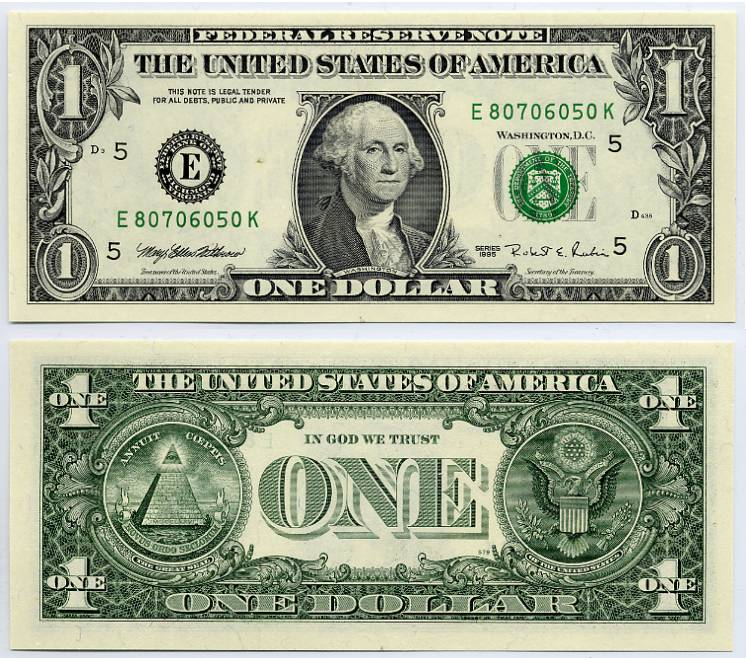 1995 $1 Federal Reserve Note Ladder Down One Dollar Bill