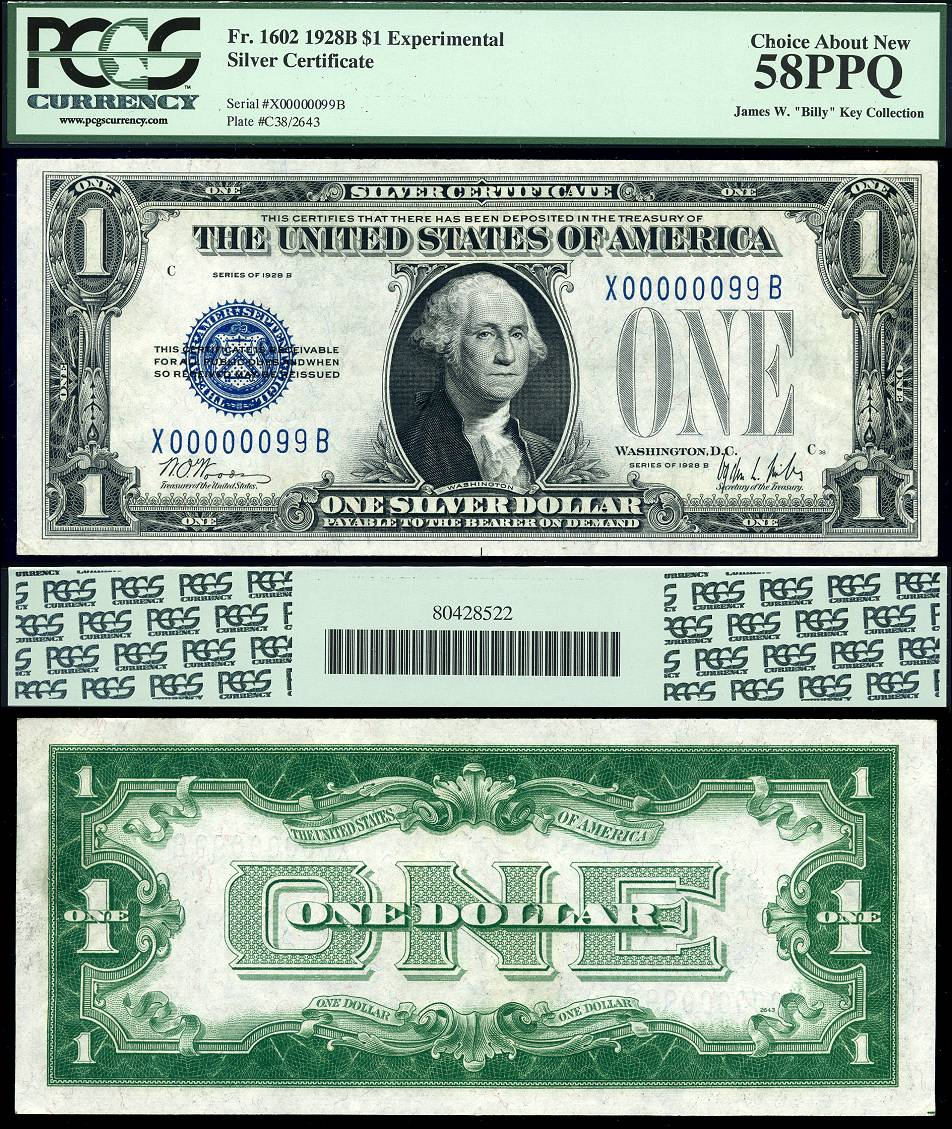 1928 B 1928a X Y Z B Experimental Set 1 Silver Certificate Funny
