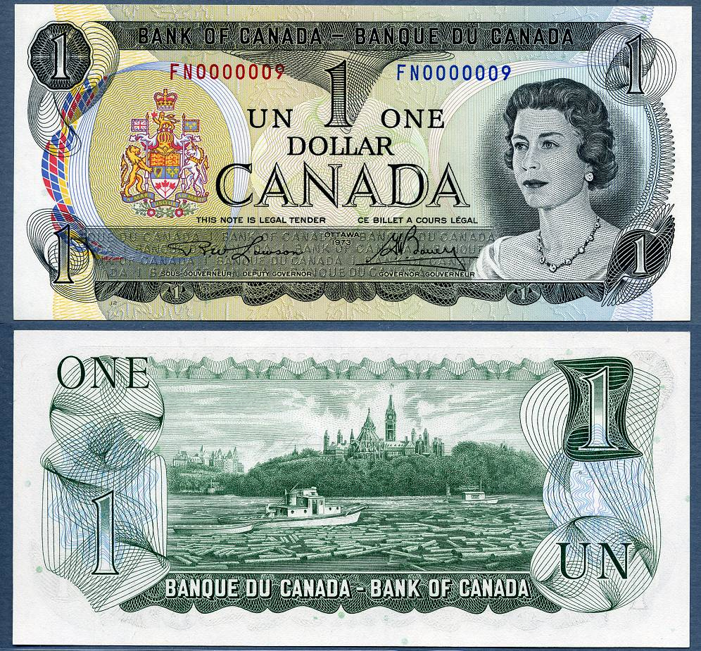 1973 $1 Bank Of Canada Note BC-46A Number 9 Nine EBay 6