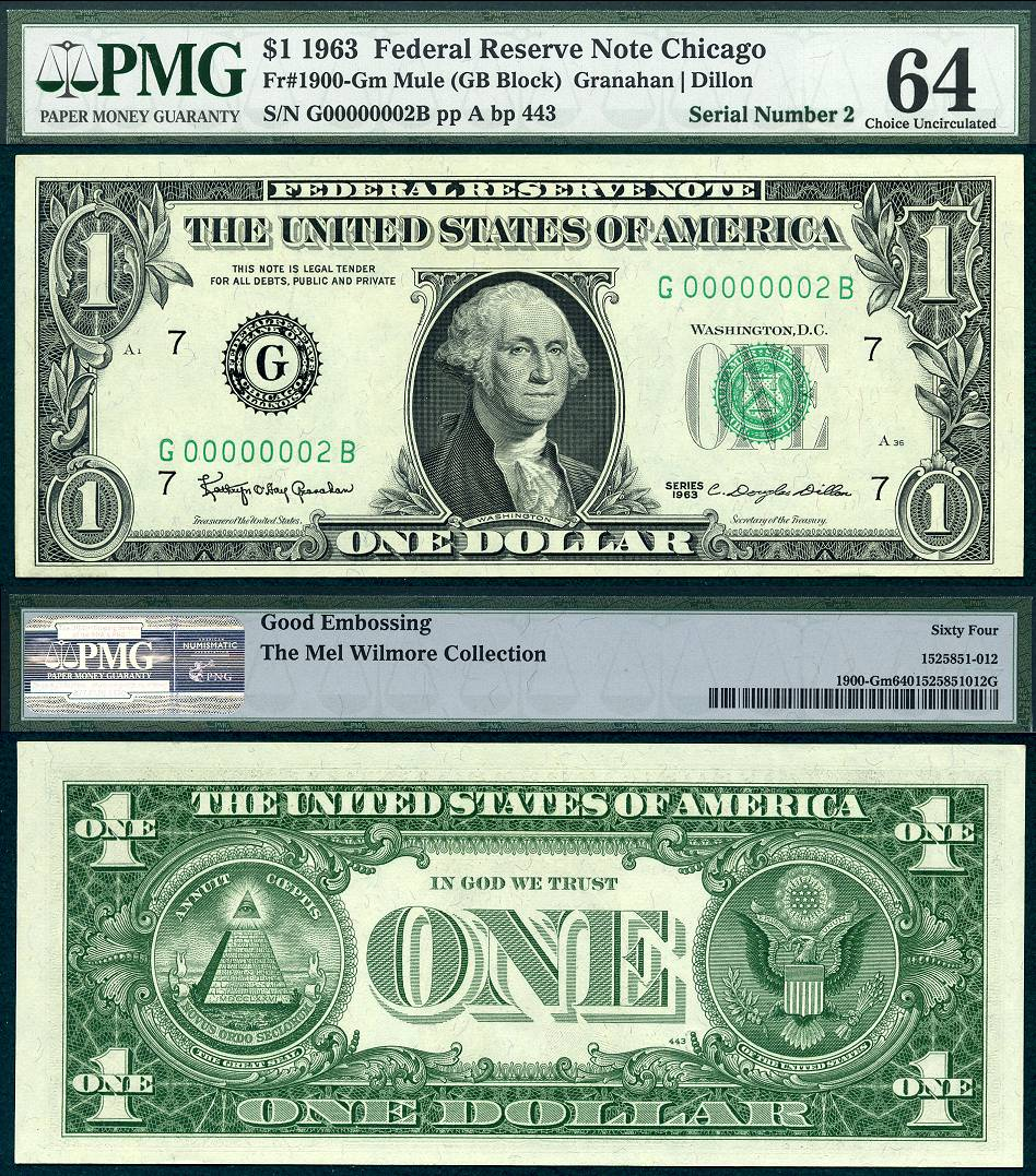 1963 $1 Federal Reserve Note # 2