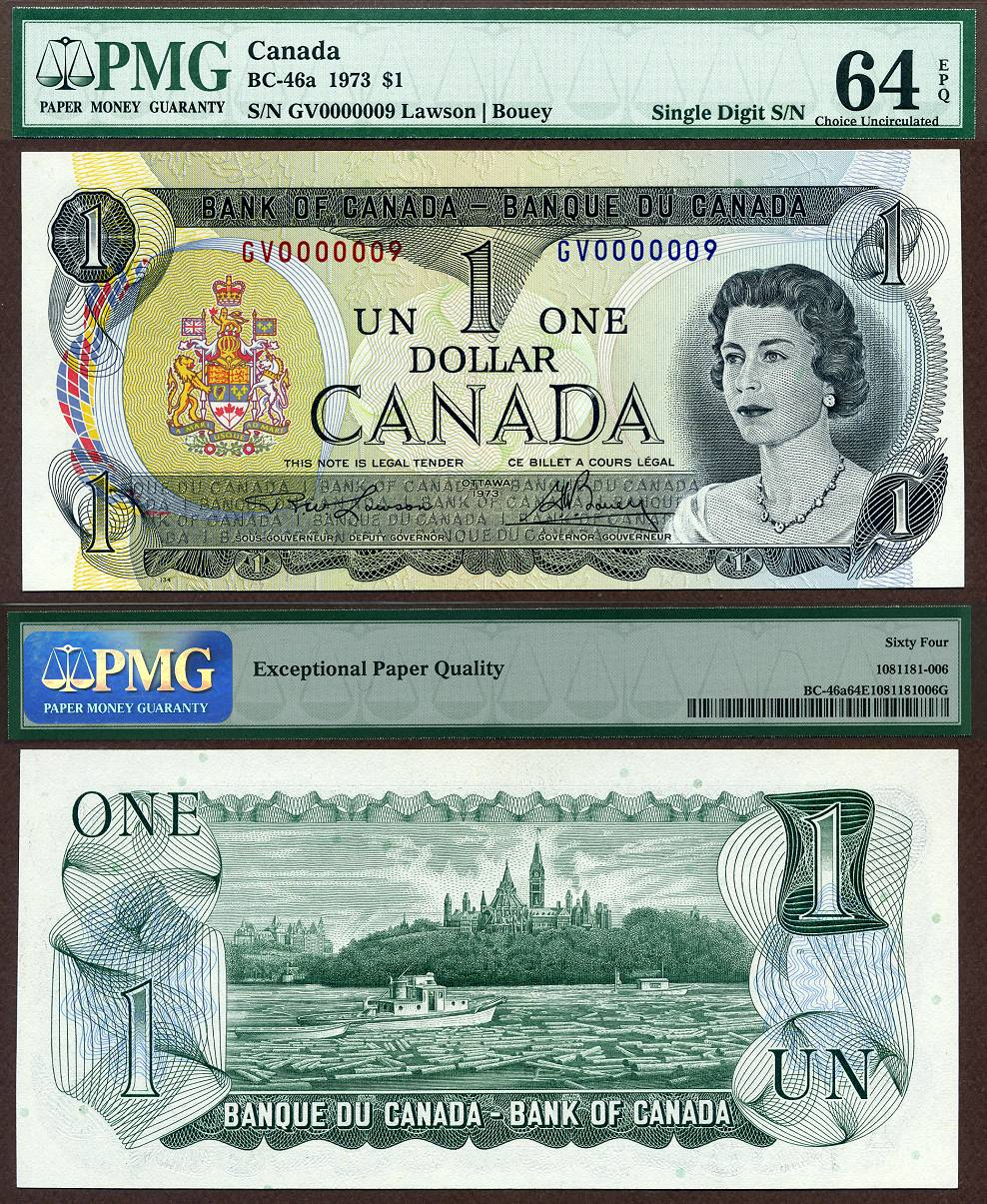 1973 $1 Bank Of Canada Note BC-46A PMG Graded CU64EPQ