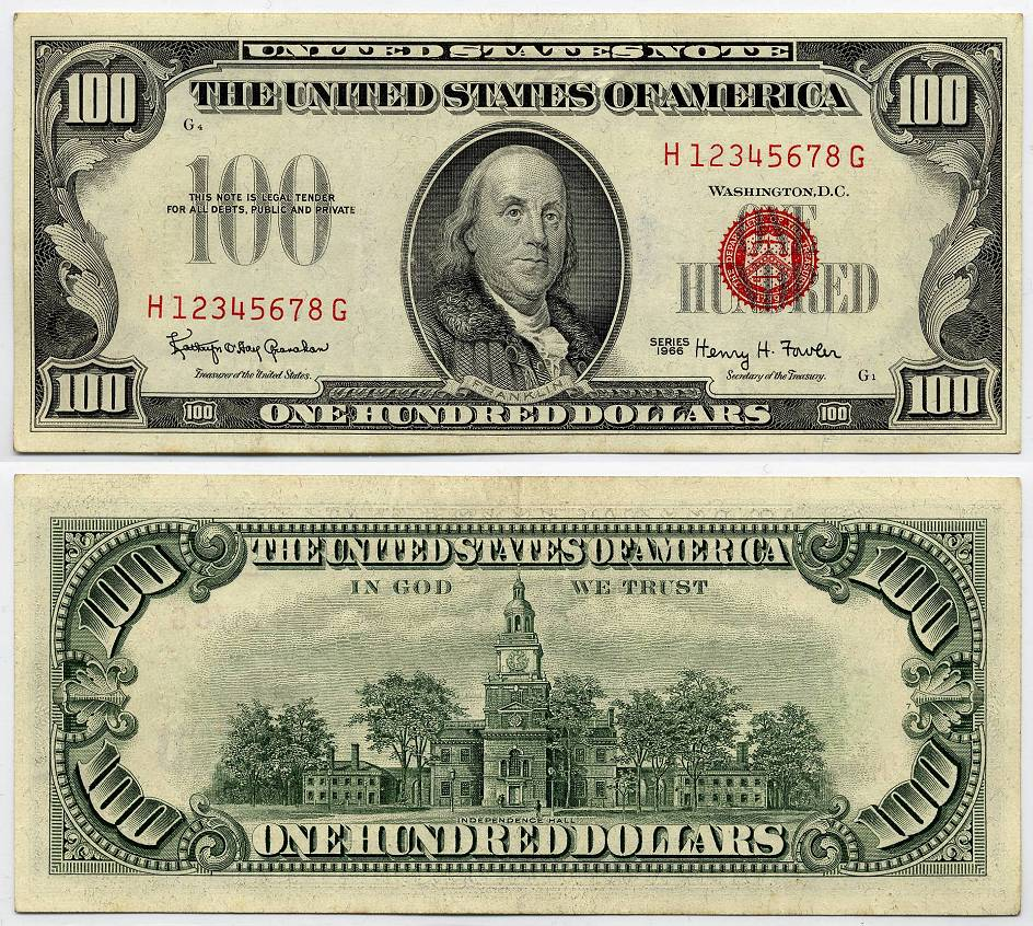 1966 $100 Red Seal United States Note Specimen Note XF/AU S