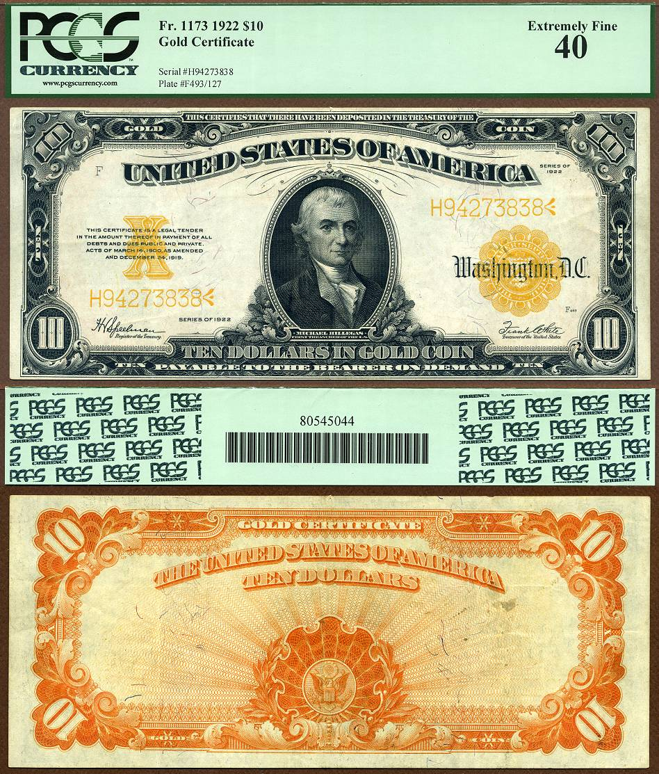 1922 $10 Gold Certificate FR-1173 PCGS Graded EF40 UAEAA 1