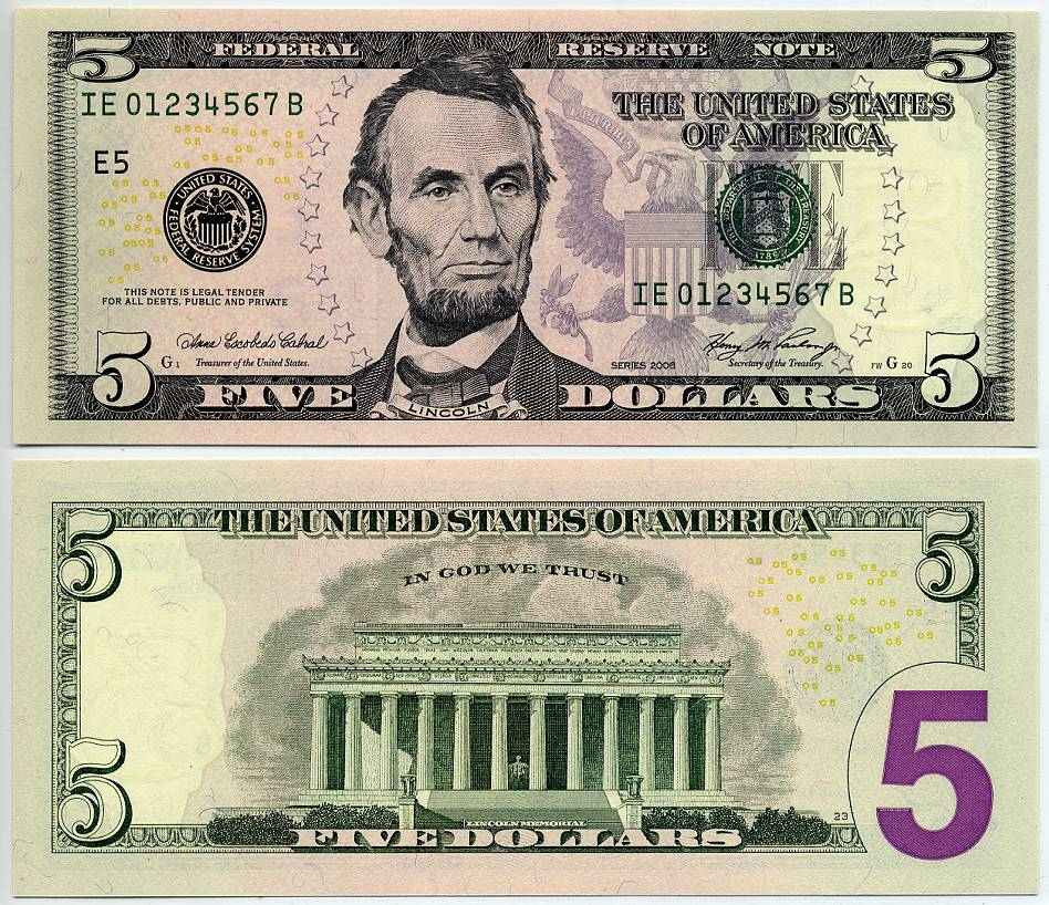picture relating to Printable 20 Dollar Bill identified as 2006 $5 Federal Guide Ladder Observe 0 via 7 Zero towards 7