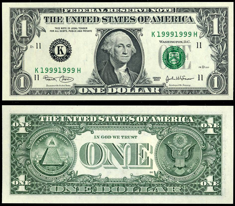 2003  1 Federal Reserve Note $1