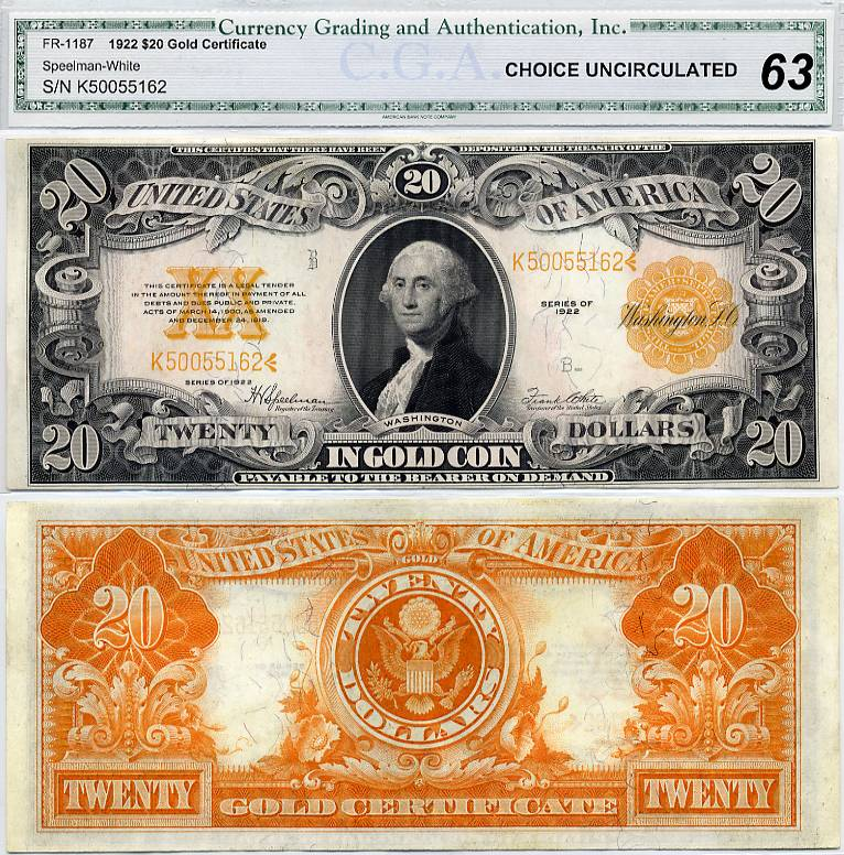 1922 $20 Gold Certificate FR-1187 CGA Graded CU63 Large Size