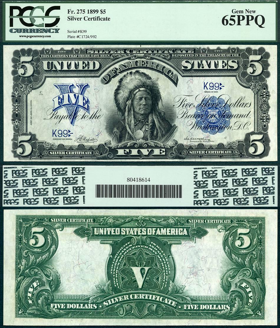 1899 $5 Silver Certificate FR-275 Kalvin J Hollenbeck ...