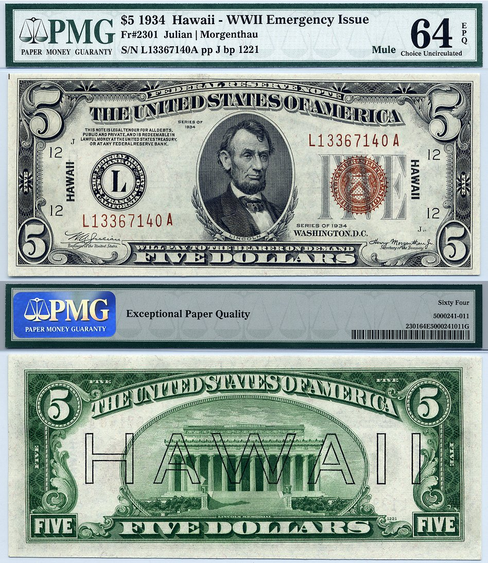 1934 5 Federal Reserve Hawaii Note Mule Fr 2301 Pmg Graded Cu64epq