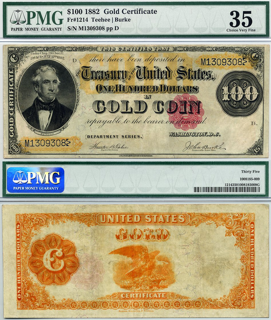 1882 100 Gold Certificate Fr 1214 Cga Graded Ef40 In Gold Coin Note