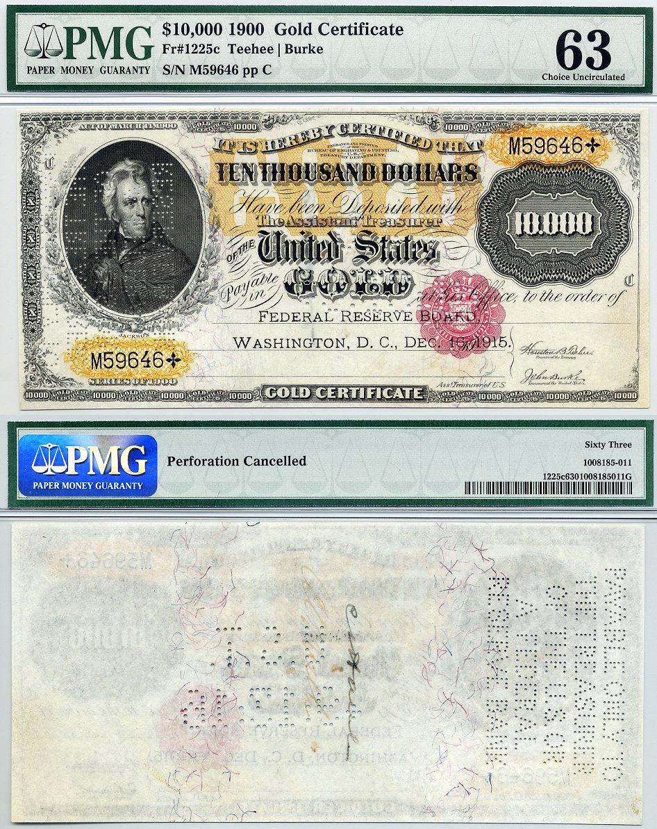 1900 10000 Gold Certificate Cga Graded Cu63 Fr 1225 10000