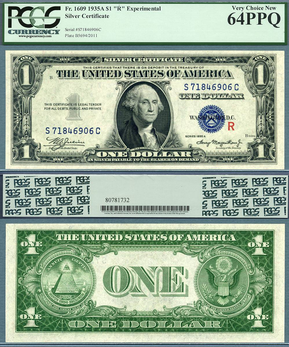 1935a 1 Experimental R S Pair Silver Certificates Fr 1609 10