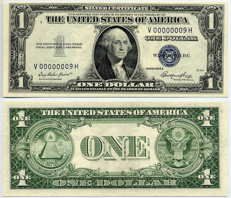 1935 E 1 Silver Certificate Serial Number Nine 9 Low And Fancy